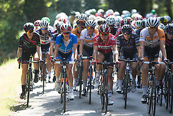 Elise Delzenne (FRA) of Lotto Soudal Cycling Team rides at the front of the peloton in the third lap of the 121.5 km road race of the UCI Women's World Tour's 2016 Grand Prix Plouay women's road cycling race on August 27, 2016 in Plouay, France. (Photo by Balint Hamvas/Velofocus)