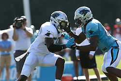 July 28, 2018 - Spartanburg, SC, U.S. - Thomas Davis (58) linebacker Carolina Panthers and Ian Thomas (80) tight end Carolina Panthers during a one on one drill during the teams third practice of the 2018 training camp  of the 2018 season on Saturday July 28, 2018 at Wofford College  in Spartanburg, S.C.   (John Byrum/for the Herald-Journal) (Credit Image: © John Byrum/Icon SMI via ZUMA Press)