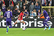 Marcus Rashford Forward of Manchester United crosses the ball during the UEFA Europa League Quarter-final, Game 1 match between Anderlecht and Manchester United at Constant Vanden Stock Stadium, Anderlecht, Belgium on 13 April 2017. Photo by Phil Duncan.