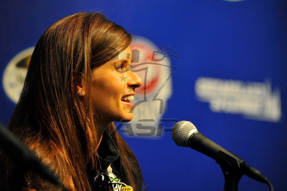 Joliet,Il - JUL 21, 2012: Danica Patrick (7) talks to the media before practice for the STP 300 at Chicagoland Speedway in Joliet, Il.