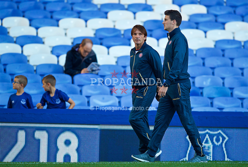 LIVERPOOL, ENGLAND - Thursday, August 17, 2017: HNK Hajduk Split head coach Juan Antonio Milan Carrillo before the UEFA Europa League Play-Off 1st Leg match against HNK Hajduk Split at Goodison Park. (Pic by David Rawcliffe/Propaganda)