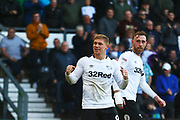 Derby County forward Martyn Waghorn (9) scores a goal and celebrates 6-1 during the EFL Sky Bet Championship match between Derby County and Rotherham United at the Pride Park, Derby, England on 30 March 2019.