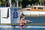 Henley on Thames, England, United Kingdom, 4th July 2019, Henley Royal Regatta, Diamonds Challenge Sculls, Harry LEASK, passing the one mile and one eight barrier,  Henley Reach, [© Peter SPURRIER/Intersport Image]<br /> <br /> 09:25:38 1919 - 2019, Royal Henley Peace Regatta Centenary,