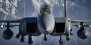 An F-15E Strike Eagle aircraft flies over  Afghanistan in support of Operation Mountain Lion April 12, 2006. The crew and fighter are deployed to the 336th Expeditionary Fighter Squadron in Southwest Asia from the 4th Fighter Wing at Seymour Johnson Air Force Base, N.C. U.S. Air Force F-15, A-10 and B-52 aircraft are providing close-air support to troops on the ground engaged in rooting out insurgent sanctuaries and support networks.