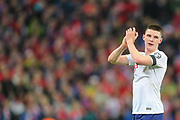Declan Rice of England applauds the home fans after the UEFA European 2020 Qualifier match between England and Czech Republic at Wembley Stadium, London, England on 22 March 2019.