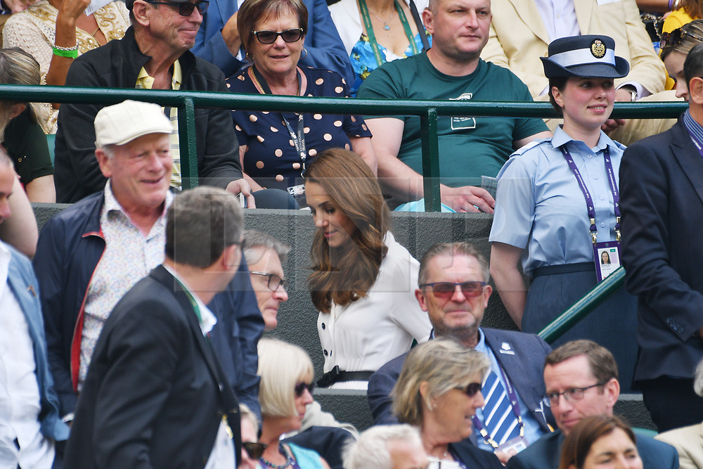 © Licensed to London News Pictures. 02/07/2019. London, UK. HRH The Duchess of Sussex watches No.1 court tennis on Day 2 of the Wimbledon Tennis Championships 2019 held at the All England Lawn Tennis and Croquet Club. Photo credit: Ray Tang/LNP