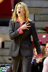 13 January 2007: FOUR! shouts coach Katie Abrahamson-Henderson.The Missouri State Bears lost to the Redbirds of Illinois State University at Redbird Arena in Normal Illinois by a score of 76-47.<br />