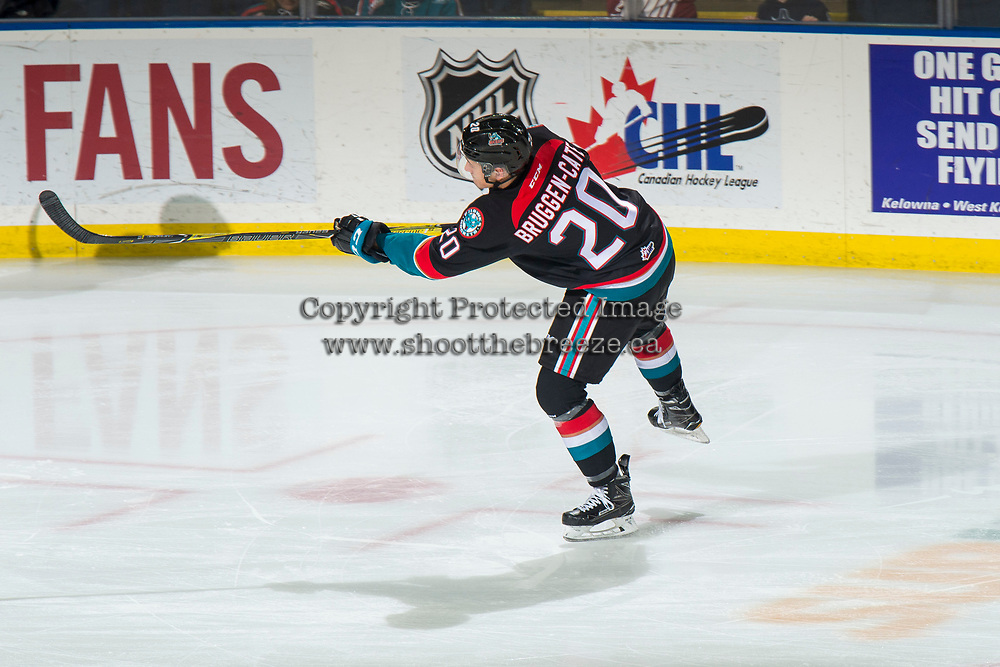 KELOWNA, CANADA - NOVEMBER 23: Conner Bruggen-Cate #20 of the Kelowna Rockets warms up with a shot on net against the Victoria Royals  on November 23, 2018 at Prospera Place in Kelowna, British Columbia, Canada.  (Photo by Marissa Baecker/Shoot the Breeze)
