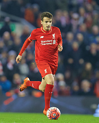 LIVERPOOL, ENGLAND - Wednesday, January 20, 2016: Liverpool's Pedro Chirivella in action against Exeter City during the FA Cup 3rd Round Replay match at Anfield. (Pic by David Rawcliffe/Propaganda)