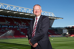Bristol City majority shareholder Steve Lansdown poses in front of Ashton Gate's newly opened stand, after it is named 'The Lansdown Stand' in his honour - Rogan Thomson/JMP - 06/08/2016 - FOOTBALL - Ashton Gate Stadium - Bristol, England - Bristol City v Wigan Athletic - Sky Bet EFL Championship.