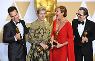 04.03.2018; Hollywood, USA: 90TH OSCAR WINNERS (Left to right) SAM ROCKWELL, FRANCES MCDORMAND, ALLISON JANNEY AND GARY OLDMAN<br /> at the 90th Annual Academy Awards, Dolby Theatre in Hollywood.<br /> Mandatory Photo Credit: &copy;Francis Dias/Newspix International<br /> <br /> IMMEDIATE CONFIRMATION OF USAGE REQUIRED:<br /> Newspix International, 31 Chinnery Hill, Bishop's Stortford, ENGLAND CM23 3PS<br /> Tel:+441279 324672  ; Fax: +441279656877<br /> Mobile:  07775681153<br /> e-mail: info@newspixinternational.co.uk<br /> Usage Implies Acceptance of Our Terms &amp; Conditions<br /> Please refer to usage terms. All Fees Payable To Newspix International