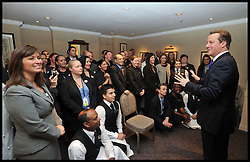 The Prime Minister David Cameron Meets hotel staff at the Hyatt Hotel Birmingham. October 2012. Photo By Andrew Parsons / i-Images