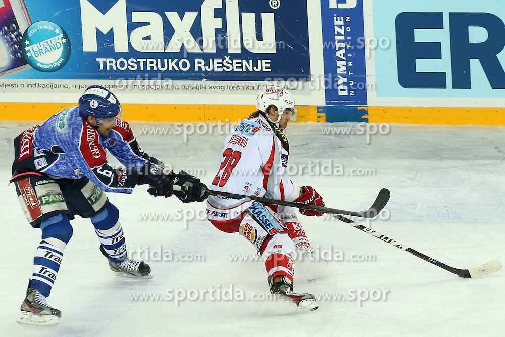 25.01.2013, Arena Zagreb, Zagreb, CRO, EBEL, KHL Medvescak Zagreb vs EC KAC, Platzierungsrunde, im Bild Kyle Greentree #6, Michael Siklenka #23 // during the Erste Bank Icehockey League placement Round match between KHL Medvescak Zagreb and EC KAC at the Arena Zagreb, Zagreb, Croatia on 2013/01/25. EXPA Pictures © 2013, PhotoCredit: EXPA/ Pixsell/ Dalibor Urukalovic..***** ATTENTION - for AUT, SLO, SUI, ITA, FRA only *****