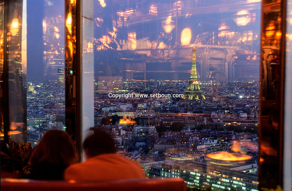 France Paris. view on paris and the Eiffel tower from  the hotel Concorde Lafayette panoramic bar