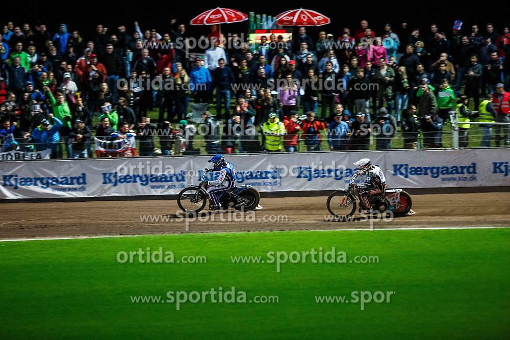 Matej Zagar #55 of Slovenia and Niels K Iversen #88 of Denmark  during FIM Speedway Grand Prix World Cup, Krsko, on 29th of April, 2017, in Sports park Krsko, Slovenia. Photo by Grega Valancic / Sportida