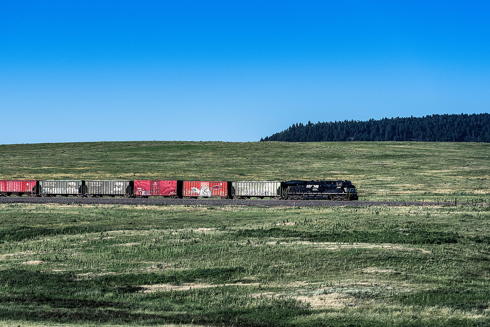 Train transports cargo through the Colorado landscape.