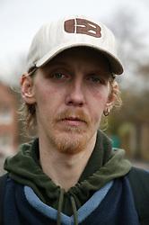 Portrait of a homeless man,