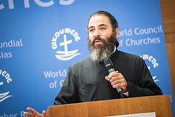 "18 September 2017, Geneva, Switzerland: The World Council of Churches formally opens the ""12 Faces of Hope"" exhibition at the Ecumenical Centre in Geneva. The exhibition faces 12 people from Israel and Palestine, sharing testimonies of hope, towards a future of justice and peace in the Holy Land. Here, Jack Khalil from the Greek Orthodox Patriarchate of Antioch and all the East."