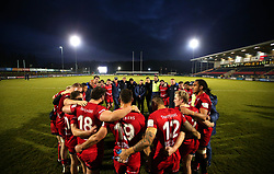 Bristol Rugby huddle after beating Doncaster Knights - Mandatory by-line: Robbie Stephenson/JMP - 02/12/2017 - RUGBY - Castle Park - Doncaster, England - Doncaster Knights v Bristol Rugby - Greene King IPA Championship