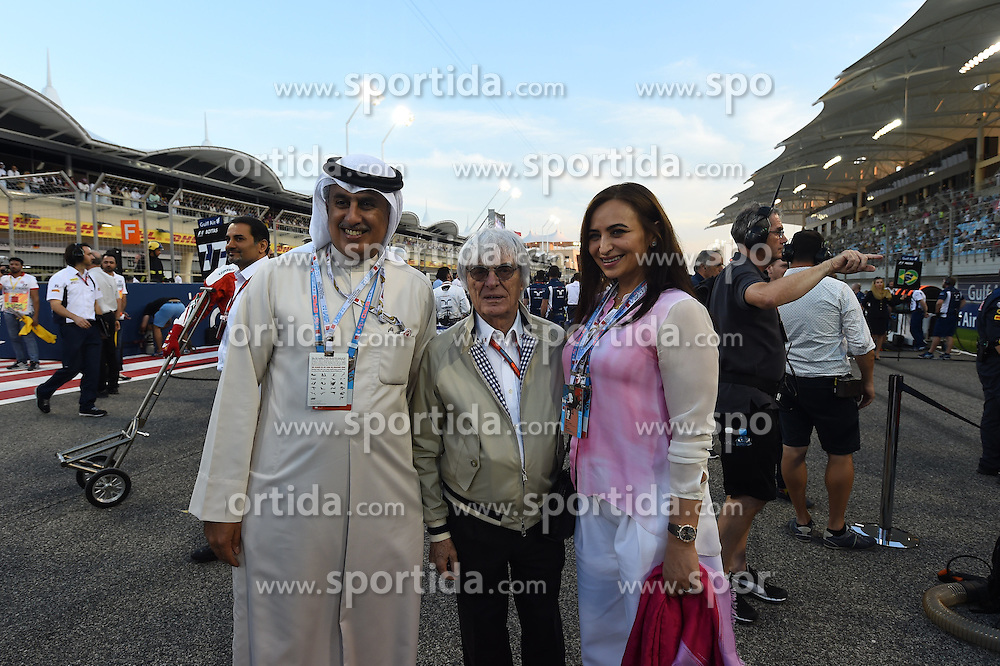 03.04.2016, International Circuit, Sakhir, BHR, FIA, Formel 1, Grand Prix von Bahrain, Rennen, im Bild Zayed Al Zayani, Chairman Bahrain International Circuit and Bernie Ecclestone (GBR) CEO Formula One Group (FOM) on the grid // during Race for the FIA Formula One Grand Prix of Bahrain at the International Circuit in Sakhir, Bahrain on 2016/04/03. EXPA Pictures &copy; 2016, PhotoCredit: EXPA/ Sutton Images/ Andre/<br /> <br /> *****ATTENTION - for AUT, SLO, CRO, SRB, BIH, MAZ only*****