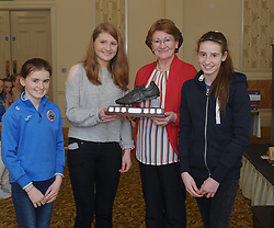 Westport Athletics Awards <br /> Sarah Staunton accecpted the Vivienne Madden  perpetual award for her achievements in 2017. Mary Madden presented the award assisted by her grandchildren Amy and Eabha Carney.<br /> Pic Conor McKeown<br /> <br /> Pic Conor McKeown