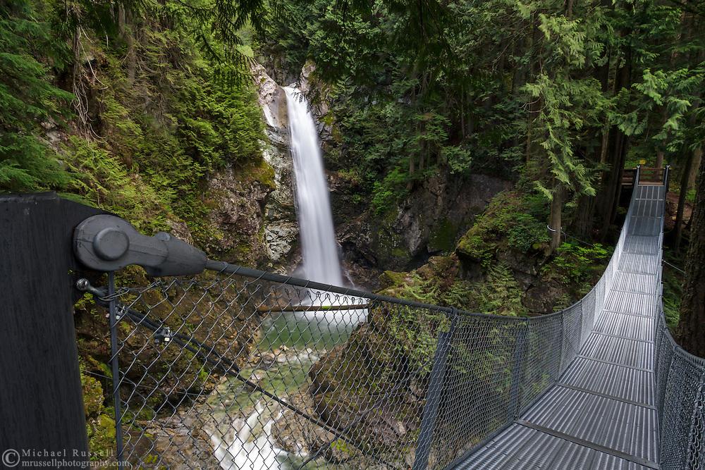 Cascade Falls suspension bridge in Cascade Falls Regional Park near Mission, British Columbia, Canada