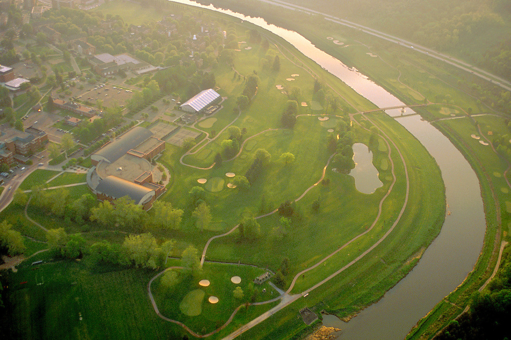 Aerial Campus Beauty. Charles J. Ping Center, Ohio University Golf Course, and the Hocking River. © Ohio University
