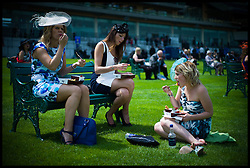 Racegoers enjoy drinks and fish and chips at Ascot races on Day 2 of Royal Ascot, <br /> Ascot, United Kingdom<br /> Wednesday, 19th June 2013<br /> Picture by Andrew Parsons / i-Images