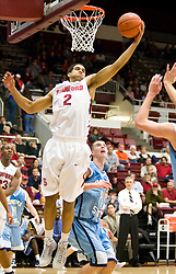 November 6, 2009; Stanford, CA, USA;  Stanford Cardinal guard/forward Landry Fields (2) grabs an offensive rebound during the first half of an exhibition game against the Sonoma State Seawolves at Maples Pavilion.