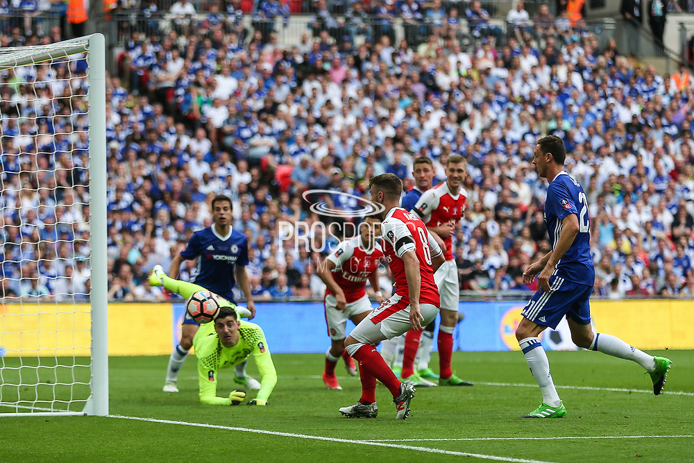 Arsenal's Aaron Ramsey(8) misses the target during the The FA Cup final match between Arsenal and Chelsea at Wembley Stadium, London, England on 27 May 2017. Photo by Shane Healey.