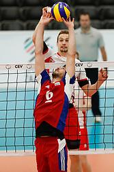 20170525 NED: 2018 FIVB Volleyball World Championship qualification, Koog aan de Zaan<br />Alexander Berger (12) of Austria, Gilles Braas (6) of Luxembourg<br />©2017-FotoHoogendoorn.nl / Pim Waslander