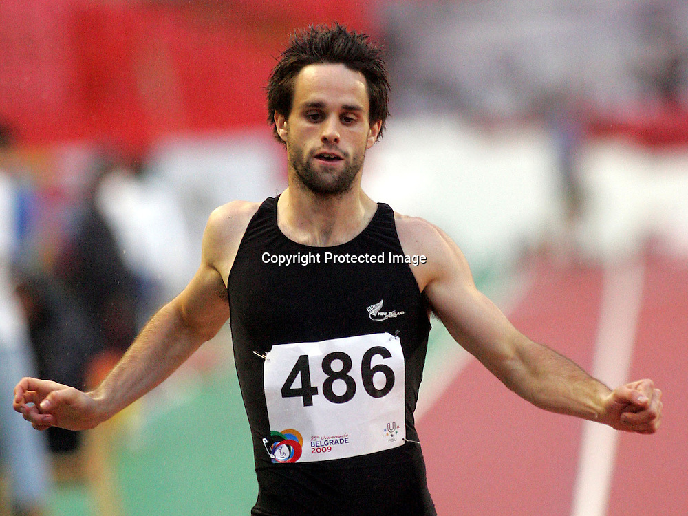 08.07.2009 Belgrade(Serbia)<br /> Universiade athletics  men's  400m semi final<br />  Andrew Moore  New Zeland <br /> Foto: Aleksandar Djorovic