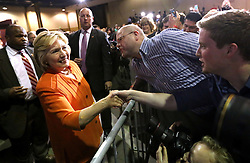 Democratic presidential nominee Hillary Clinton greets supporters during a rally at the Osceola Heritage Park Exhibition Hall on Monday, Aug. 8, 2016 in Kissimmee, Fla. Earlier in the day, Clinton campaigned in St. Petersburg, FL, USA. Photo by Joe Burbank/Orlando Sentinel/TNS/ABACAPRESS.COM