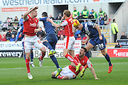 Michael Morrison of Birmingham city heads wide of the goal  during the Sky Bet Championship match between Rotherham United and Birmingham City at the New York Stadium, Rotherham, England on 13 February 2016. Photo by Ian Lyall.