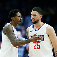 04 March 2018: LA Clippers guard Austin Rivers (25) celebrates with LA Clippers guard Lou Williams (23) during the LA Clippers 123-120 victory over the Brooklyn Nets, at the Staples Center, Los Angeles, California, USA.