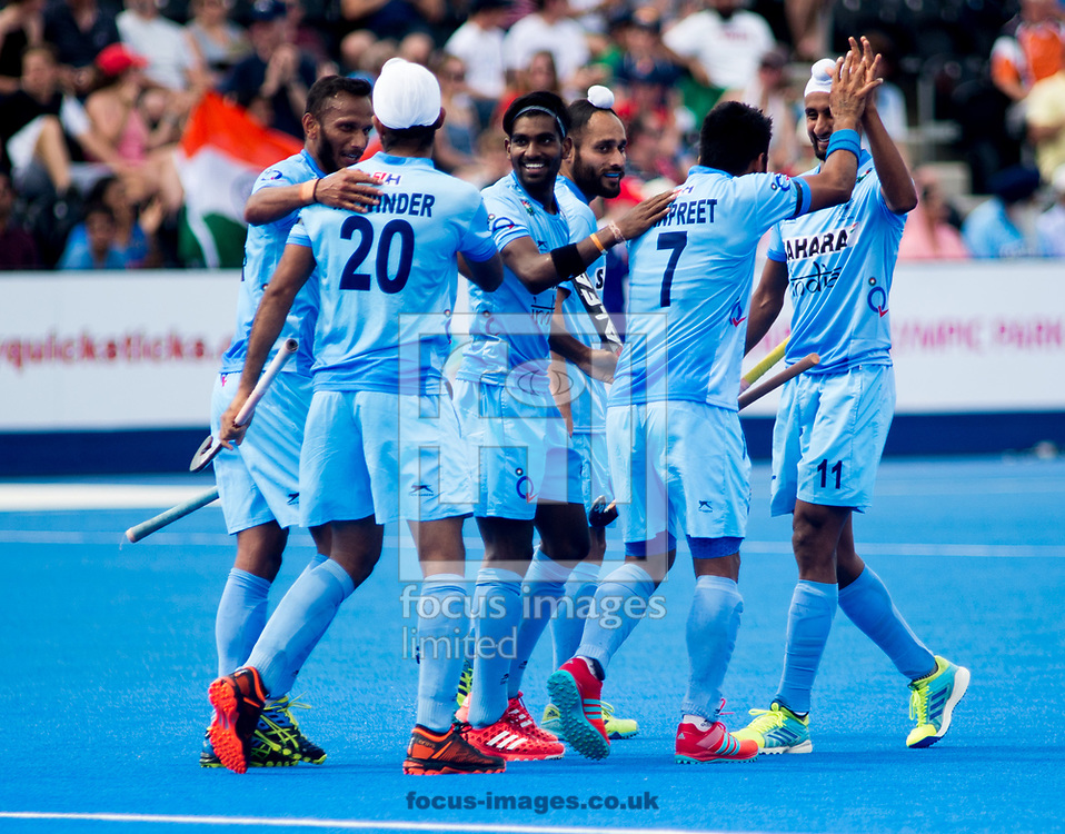 India celebrating Talwinder Singh's goal on day four of the Men's Hero Hockey World League Semi-Finals at Lee Valley Hockey Centre, Stratford<br /> Picture by Hannah Fountain/Focus Images Ltd 07814482222<br /> 18/06/2017