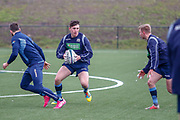 The players run through some strength & conditioning exercises during the training session and press conference for Scotland Rugby at Clydebank Community Sports Hub, Clydebank, Scotland on 13 February 2019.