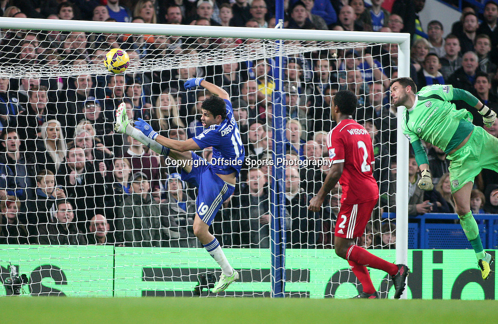 22 November 2014 - Barclays Premier League - Chelsea v West Bromwich Albion - Diego Costa of Chelsea can't control the ball after he has an open goal to aim for.<br /> <br /> <br /> Photo: Ryan Smyth/Offside