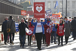 © Licensed to London News Pictures. 14/02/2019. London, UK. Brexit campaigners March outside Parliament ahead of a Brexit vote in the House of Commons later today. Photo credit: Peter Macdiarmid/LNP