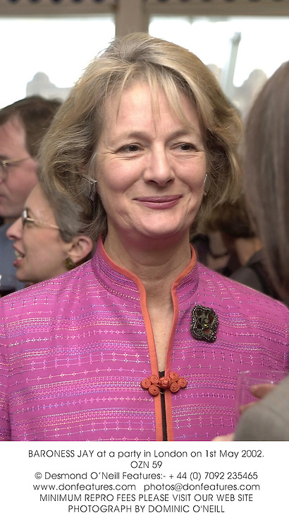 BARONESS JAY at a party in London on 1st May 2002.	OZN 59
