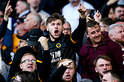 Wolverhampton Wanderers fans celebrate Romain Saiss of Wolverhampton Wanderers scoring a goal to make it 1-1 - Mandatory by-line: Robbie Stephenson/JMP - 01/09/2019 - FOOTBALL - Goodison Park - Liverpool, England - Everton v Wolverhampton Wanderers - Premier League