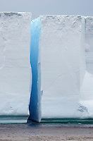 Split tabular iceberg in iceberg alley in Antarctic Sound in Antarctica.