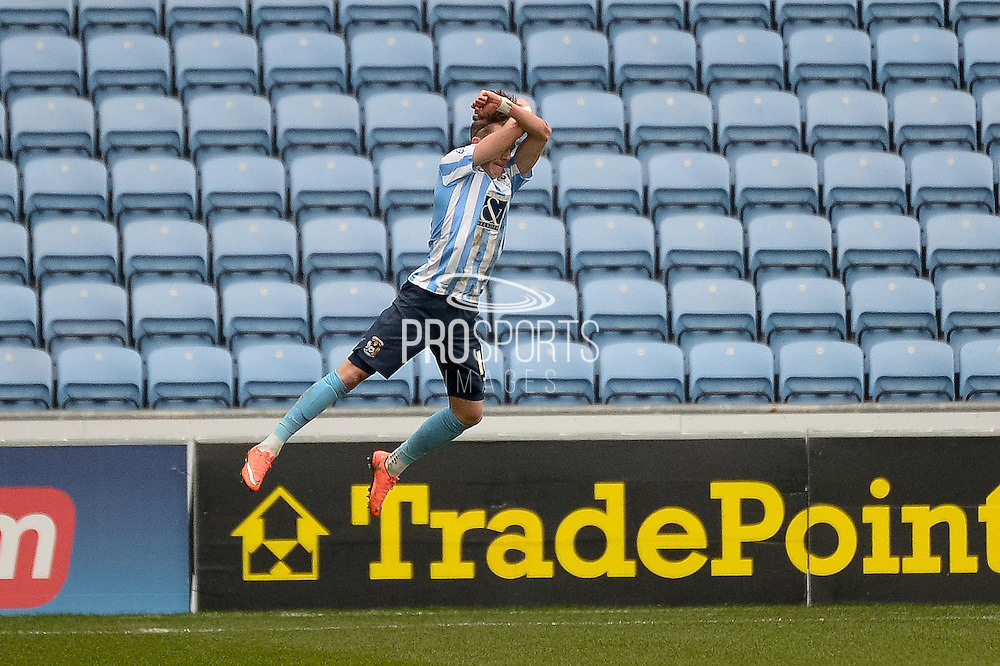 Coventry City Midfielder James Maddison acrobatically celebrates his goal during the Sky Bet League 1 match between Coventry City and Bury at the Ricoh Arena, Coventry, England on 13 February 2016. Photo by Dennis Goodwin.