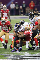 3 February 2013: Running back (27) Ray Rice of the Baltimore Ravens is tackled by (55) NaVorro Bowman of the San Francisco 49ers during the first half of the Ravens 34-31 victory over the 49ers in Superbowl XLVII at the Mercedes-Benz Superdome in New Orleans, LA.