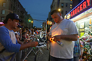Crowds gathered at an expanding memorial filled with candles, paintings, t shirts, cards, and balloons, to honor the memory of 15 year old, Lesandro &ldquo;Junior&rdquo; Guzman Feliz . <br /> Junior, was brutally murdered by gang members  in a bodega in the Bronx, in a tragic case of mistaken identity.
