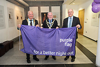 Galway City celebrates purple flag status...<br /> Galway City Council hosted a mayoral reception to celebrate Galway's designation as a Purple Flag City. The city was awarded Purple Flag status earlier this year, following a rigorous application process, in recognition of its safe, vibrant and well-managed town centre in the evening and at night.<br /> Purple Flag is an international accreditation scheme for town and city centres. It is run through the Association of Town and City Management (ATCM) and is the &ldquo;gold standard&rdquo; for night time destinations. A judging panel visited the city last December and, over a 12 hour period from 5 pm &ndash; 5 am, assessed the city using 30 different criteria, including safety, appropriate transport, available services, use of public spaces and vibrant appeal. A comprehensive application form was also submitted. Galway City passed all 30 criteria of the accreditation procedure with commendations. In particular, the city was praised was praised for strong evidence of leadership and business engagement.  Frank Greene, President Chamber of Commerce, Mayor of Galway Cllr. Donal Lyons  Brendan McGrath - Chief Executive of Galway City Council <br />  Photo:Andrew Downes, XPOSURE