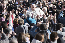 November 9, 2016 - Vatican City, Vatican - Pope Francis waves as he is driven through the crowd in St. Peter's Square for his weekly general audience, at the Vatican, Wednesday, Nov. 9, 2016. (Credit Image: © Massimo Valicchia/NurPhoto via ZUMA Press)