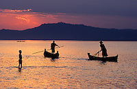 Sunset on the Irrewady River<br /> Myanmar