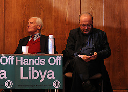 © Under licence to London News Pictures. 14/03/14 Tony Benn has died aged 88. FILE PICTURE:  30/03/2011.Tony Benn and George Galloway at a 'Hands Off Libya' rally organised by the Stop The War Coalition, at Conway Hall in central London on March 30th 2011. Picture credit should read:  Blake-Ezra Cole/London News Pictures.