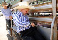 Carter Watsabaugh tries to keep the contents of his pockets as one of the pigs roots into them as the Watsabaugh brothers ride into Teton County Fair on the back of their trailer.